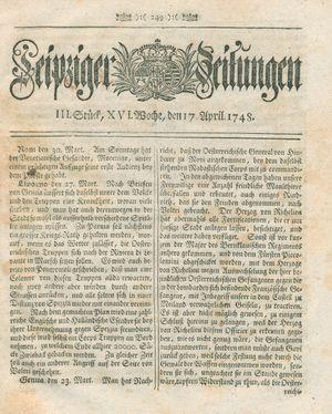 Leipziger Zeitungen vom 17.04.1748