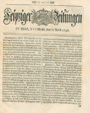 Leipziger Zeitungen vom 18.04.1748