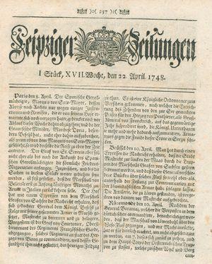 Leipziger Zeitungen vom 22.04.1748