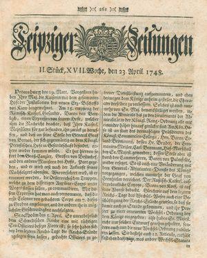 Leipziger Zeitungen vom 23.04.1748