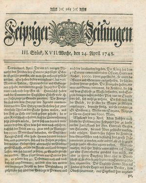 Leipziger Zeitungen vom 24.04.1748