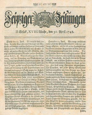Leipziger Zeitungen vom 30.04.1748
