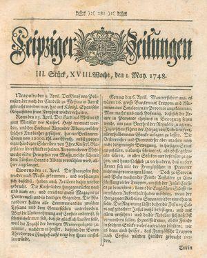 Leipziger Zeitungen vom 01.05.1748
