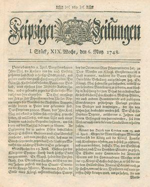 Leipziger Zeitungen vom 06.05.1748