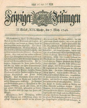 Leipziger Zeitungen vom 07.05.1748