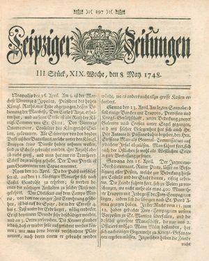 Leipziger Zeitungen vom 08.05.1748