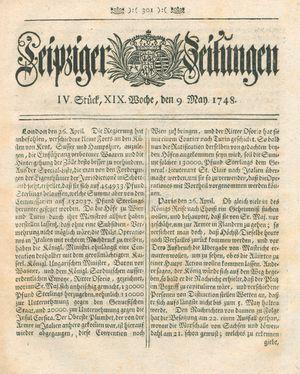 Leipziger Zeitungen vom 09.05.1748