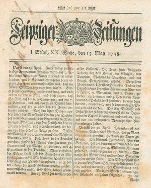 Leipziger Zeitungen vom 13.05.1748