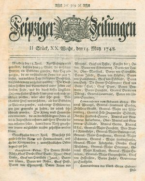 Leipziger Zeitungen vom 14.05.1748