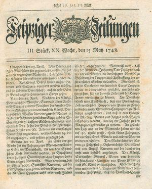 Leipziger Zeitungen vom 15.05.1748