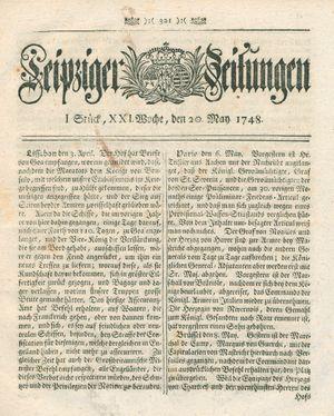Leipziger Zeitungen vom 20.05.1748