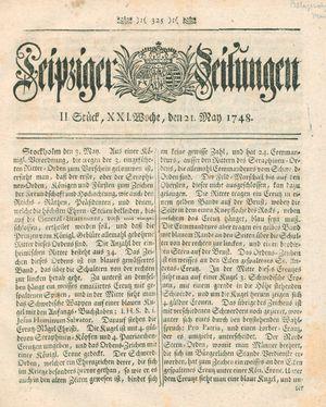 Leipziger Zeitungen vom 21.05.1748