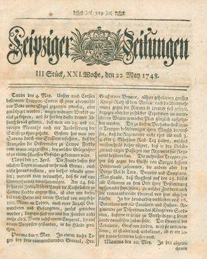 Leipziger Zeitungen vom 22.05.1748