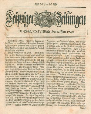 Leipziger Zeitungen vom 12.06.1748
