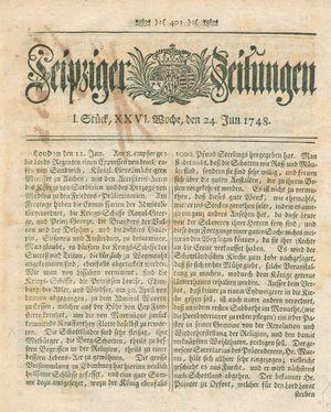 Leipziger Zeitungen vom 24.06.1748