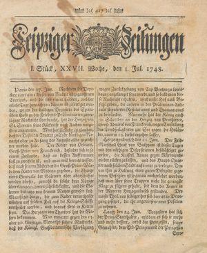 Leipziger Zeitungen vom 01.07.1748