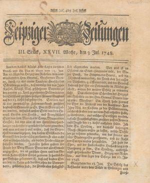 Leipziger Zeitungen vom 03.07.1748
