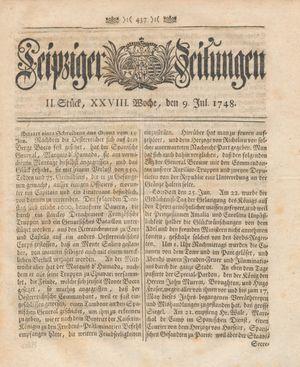 Leipziger Zeitungen vom 09.07.1748