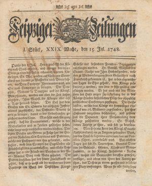Leipziger Zeitungen vom 15.07.1748