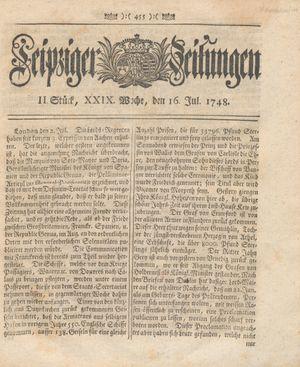 Leipziger Zeitungen vom 16.07.1748