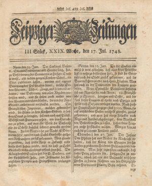 Leipziger Zeitungen vom 17.07.1748