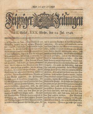 Leipziger Zeitungen vom 24.07.1748