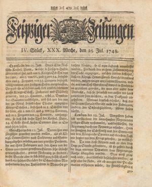 Leipziger Zeitungen vom 25.07.1748