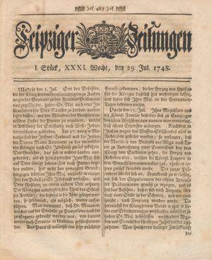 Leipziger Zeitungen vom 29.07.1748