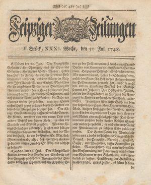 Leipziger Zeitungen vom 30.07.1748