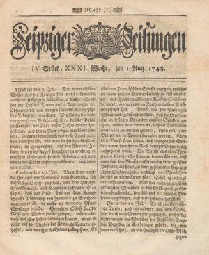 Leipziger Zeitungen on Aug 1, 1748