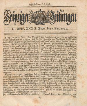 Leipziger Zeitungen vom 07.08.1748