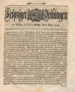Leipziger Zeitungen vom 08.08.1748