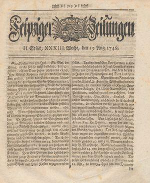 Leipziger Zeitungen vom 13.08.1748