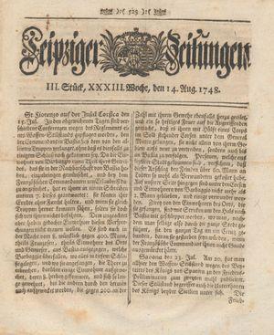 Leipziger Zeitungen vom 14.08.1748