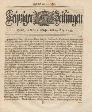 Leipziger Zeitungen vom 19.08.1748
