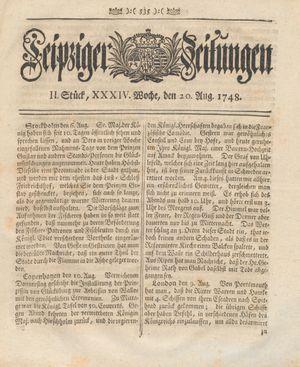 Leipziger Zeitungen vom 20.08.1748