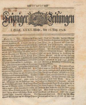 Leipziger Zeitungen vom 26.08.1748