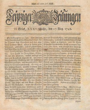Leipziger Zeitungen vom 27.08.1748