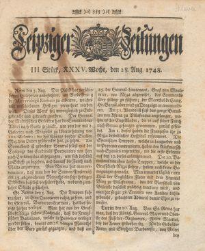 Leipziger Zeitungen vom 28.08.1748