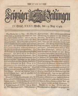Leipziger Zeitungen vom 29.08.1748