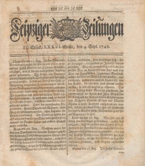 Leipziger Zeitungen vom 04.09.1748
