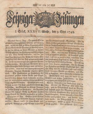 Leipziger Zeitungen vom 09.09.1748