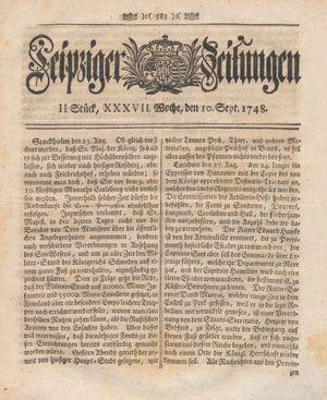 Leipziger Zeitungen vom 10.09.1748