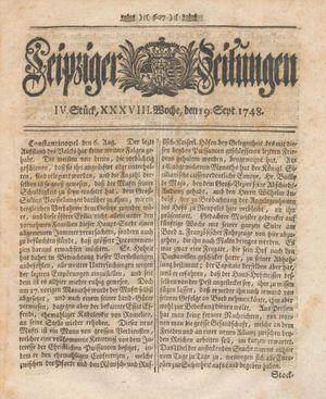 Leipziger Zeitungen vom 19.09.1748