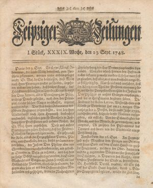 Leipziger Zeitungen vom 23.09.1748