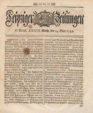 Leipziger Zeitungen vom 24.09.1748