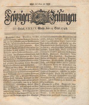 Leipziger Zeitungen vom 25.09.1748