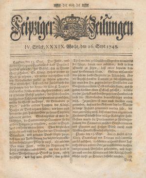 Leipziger Zeitungen vom 26.09.1748