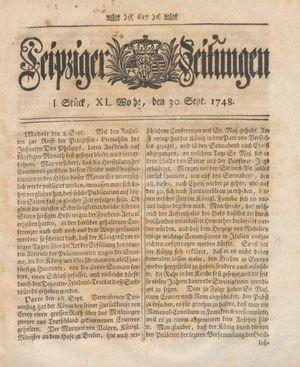 Leipziger Zeitungen vom 30.09.1748