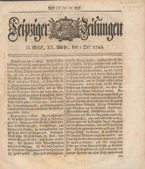 Leipziger Zeitungen vom 01.10.1748